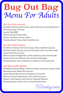 72 Hour Bug Out Kit - Menu for Adults