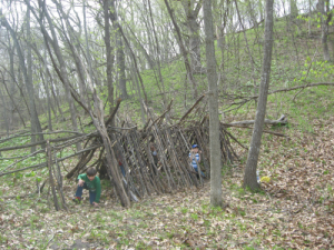 Building debris hut shelter